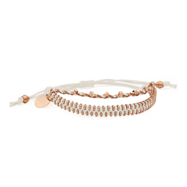 Juno Luxe Friendship Bracelet • White • Rose Gold