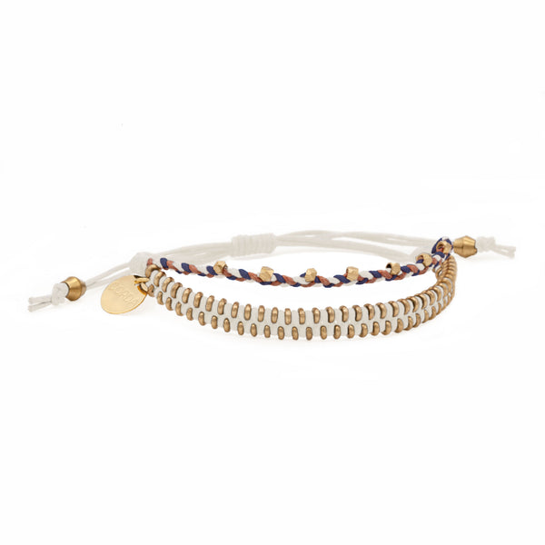 Juno Luxe Friendship Bracelet • White • Brass