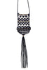 Black, White & Gold Macramé Tassel Statement Necklace