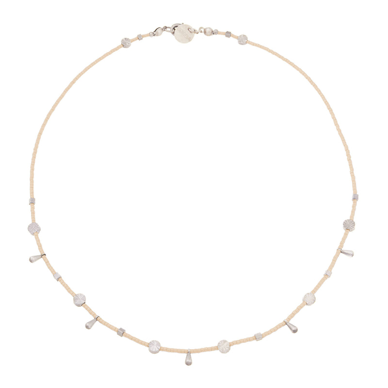 Chloe Beaded Choker Necklace in Blush Peach
