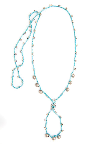 Corda Ethiope Necklace in Aqua silk crocheted with Ethiopian Nickel Silver beads, designed by Kelli Ronci