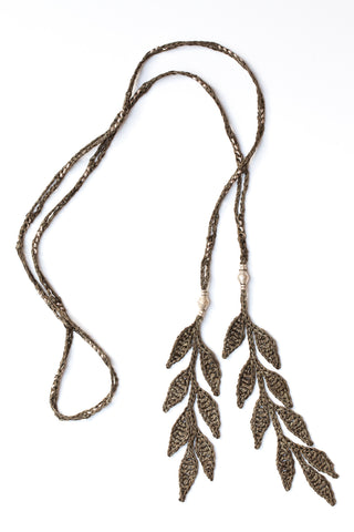 Corda Leaf Lariat Necklace in Lichen Green silk with Ethiopian Silver, designed by Kelli Ronci