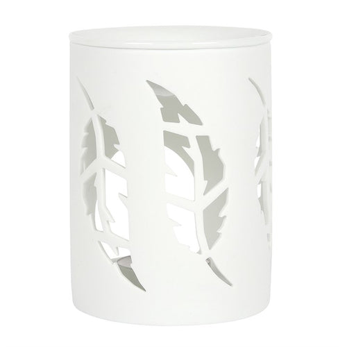 WHITE FEATHER CUT OUT TEALIGHT BURNER