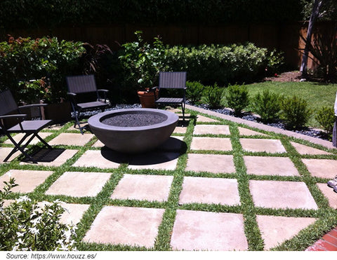 diagonal garden paving
