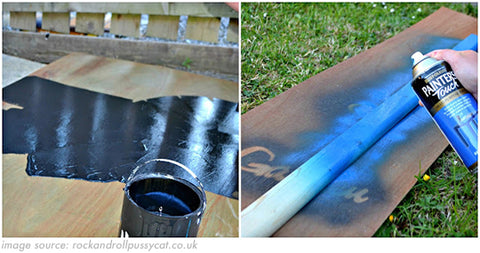 spray painting a diy chalkboard for kids