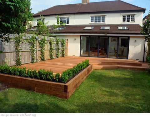 decking area in a back garden