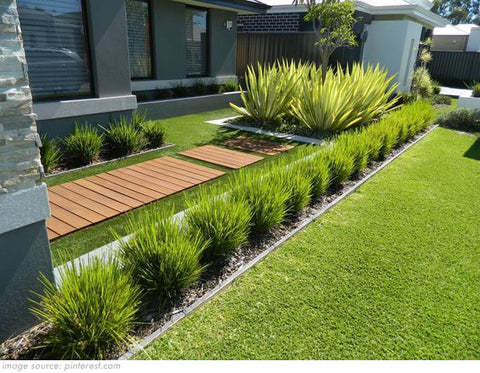 decorative garden edging with plants