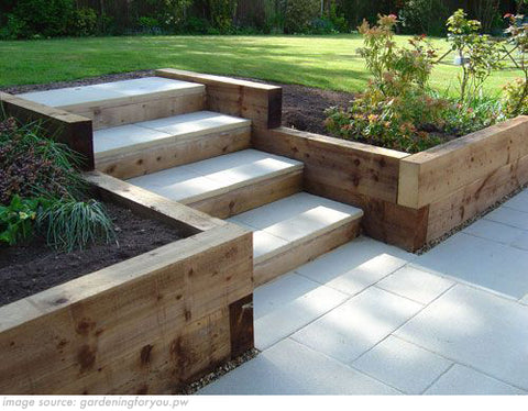 Steps in sloped garden with retaining wall