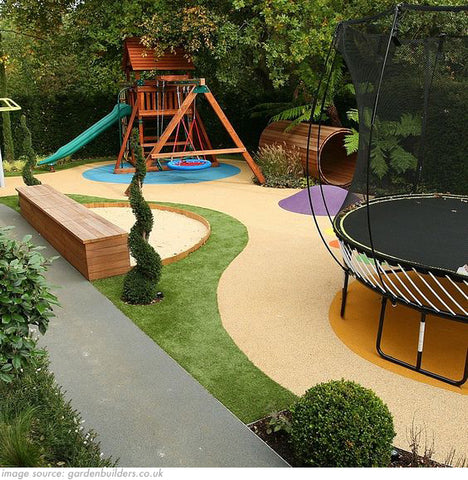 back garden with specially built play area for kids