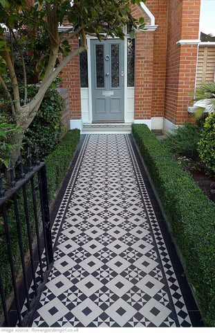 traditional victorian terraced house pathway