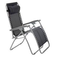 Load image into Gallery viewer, Azuma textilene zero gravity garden chair in black.