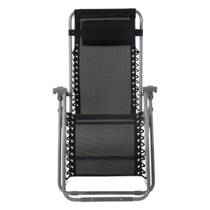 Front view of the Azuma textilene zero gravity garden chair in black.