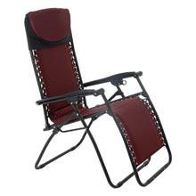 Load image into Gallery viewer, Azuma padded garden relaxer chair in dark red.