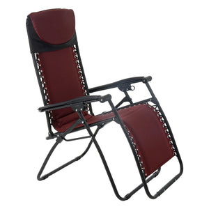 Azuma padded garden relaxer chair in dark red.