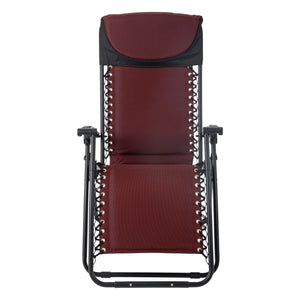 Front view of the Azuma padded garden relaxer chair in dark red.