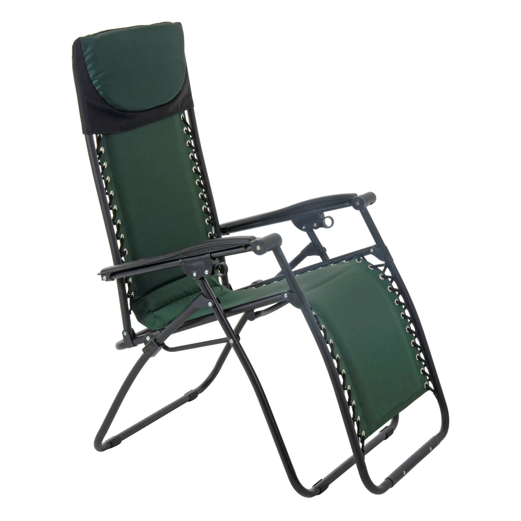 Azuma textilene garden relaxer chair in dark green.
