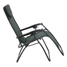 Load image into Gallery viewer, First recline position of the Azuma textilene garden relaxer chair in dark green.