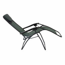 Load image into Gallery viewer, Full recline position of the Azuma textilene garden relaxer chair in dark green.