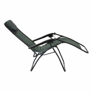 Full recline position of the Azuma textilene garden relaxer chair in dark green.
