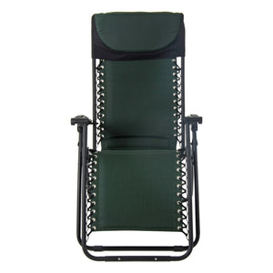 Front view of the Azuma textilene garden relaxer chair in dark green.