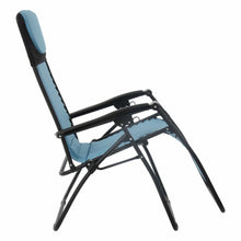 Load image into Gallery viewer, First recline position of the Azuma textilene garden relaxer chair in turquoise.