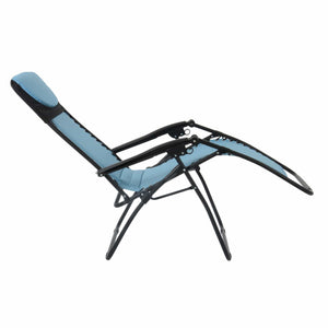 Full recline position of the Azuma textilene garden relaxer chair in turquoise.