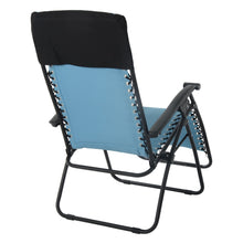Load image into Gallery viewer, Back view of the Azuma textilene garden relaxer chair in turquoise.