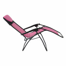 Load image into Gallery viewer, Full recline position of the Azuma padded garden relaxer chair in pink.