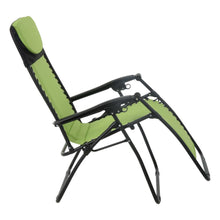 Load image into Gallery viewer, First recline position of the Azuma padded garden relaxer chair in lime.