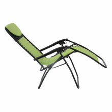 Load image into Gallery viewer, Full recline position of the Azuma padded garden relaxer chair in lime.