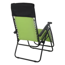 Load image into Gallery viewer, Back view of the Azuma padded garden relaxer chair in lime.