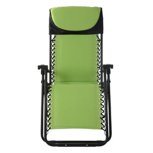 Front view of the Azuma padded garden relaxer chair in lime.