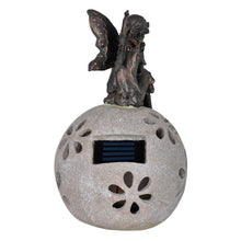 Load image into Gallery viewer, Back of the sitting fairy garden solar light ornament.