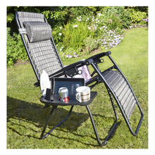 Load image into Gallery viewer, Azuma clip on relaxer chair table with space for cups, cans, phone.