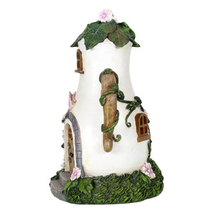 Side of the Fairy house coffee pot solar light.