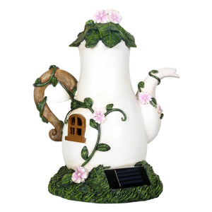 Back of the Fairy house coffee pot solar light.