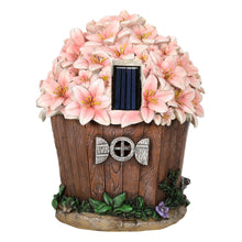 Load image into Gallery viewer, Back of the Blossom house solar ornament.