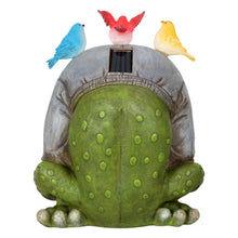 Load image into Gallery viewer, Back of the Novelty frog solar garden ornament.