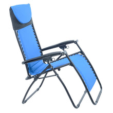 Load image into Gallery viewer, Azuma padded garden relaxer chair in blue.