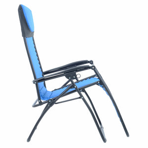 Side view of the Azuma padded garden relaxer chair in blue.