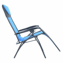 Load image into Gallery viewer, First recline position of the Azuma padded garden relaxer chair in blue.