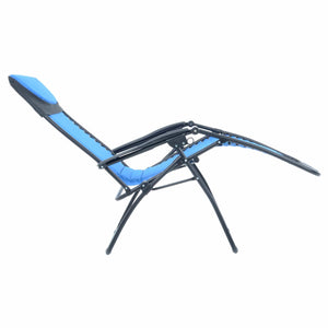 Full recline position of the Azuma padded garden relaxer chair in blue.