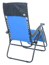 Load image into Gallery viewer, Back view of the Azuma padded garden relaxer chair in blue.
