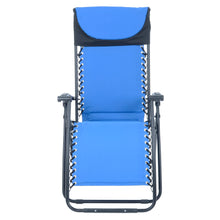 Load image into Gallery viewer, Front view of the Azuma padded garden relaxer chair in blue.