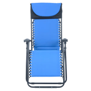 Front view of the Azuma padded garden relaxer chair in blue.