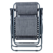 Load image into Gallery viewer, Azuma textilene garden relaxer chair in dark grey marl fully folded.