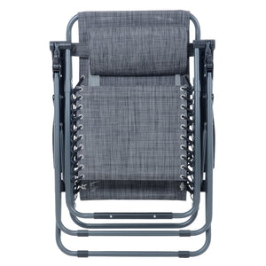 Azuma textilene garden relaxer chair in dark grey marl fully folded.