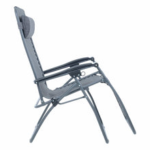 Load image into Gallery viewer, Side view of the Azuma textilene garden relaxer chair in dark grey marl.