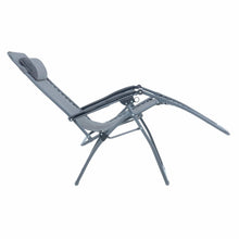 Load image into Gallery viewer, Full recline position of the Azuma textilene garden relaxer chair in dark grey marl.