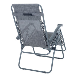 Back view of the Azuma textilene garden relaxer chair in dark grey marl.